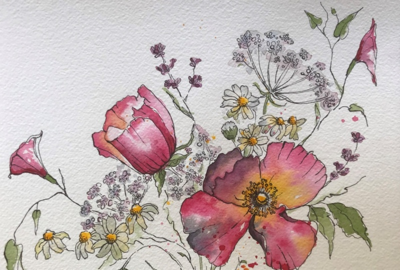 5 Flowers in Watercolor and Ink