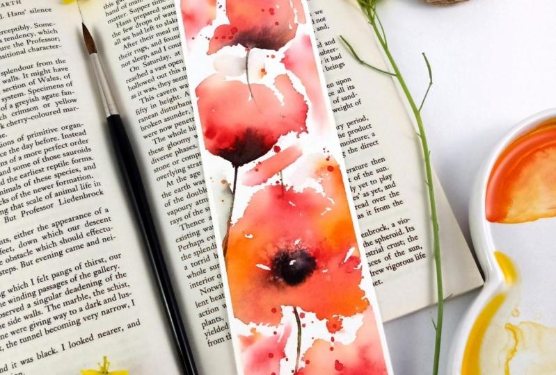 Loose poppies bookmark