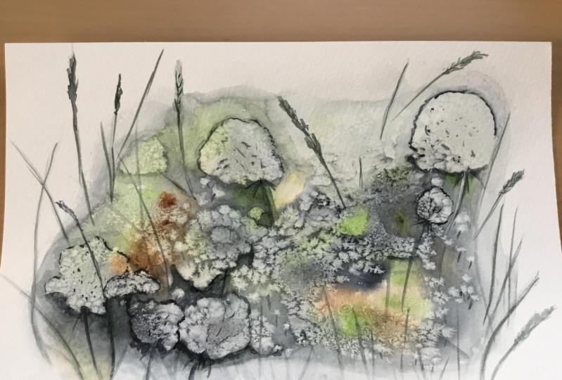 Watercolor and salt