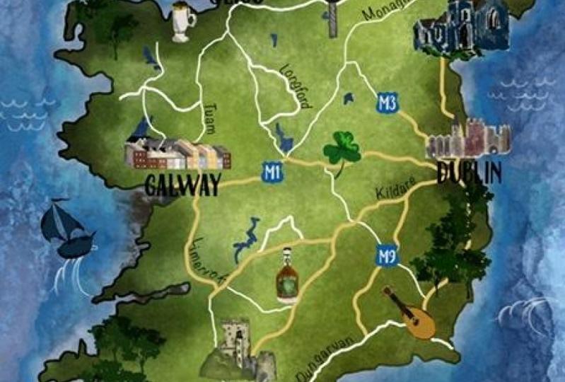 Watercolor Map - Ireland