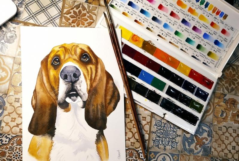 My Watercolor Basset Hound.