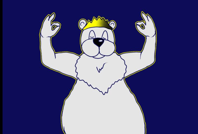 royal polar bear doing yoga