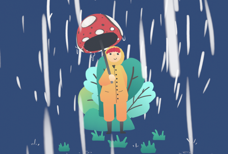 My first girl with a mushroom umbrella!