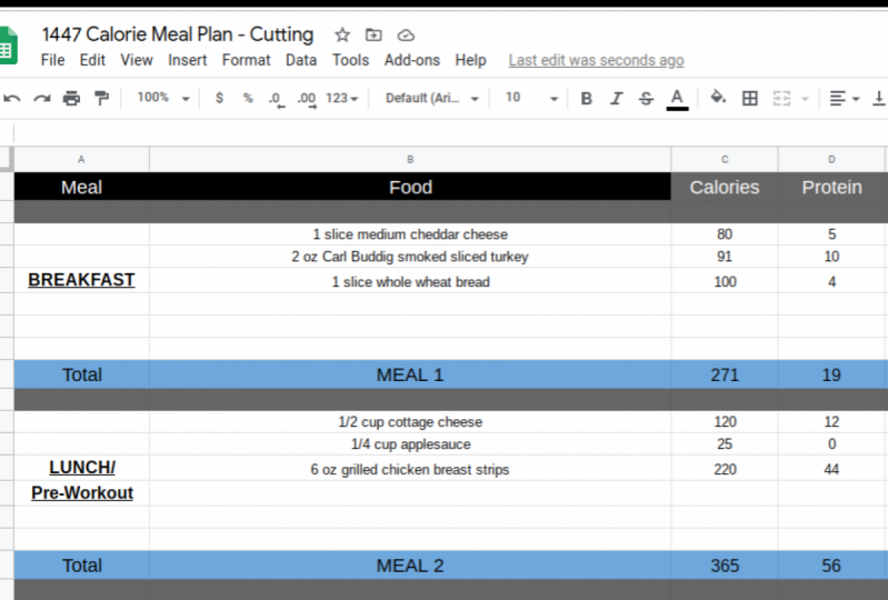 1447 Calorie Meal Plan for Female - Cutting