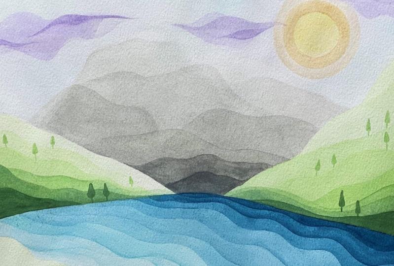 Modern Watercolor Landscape