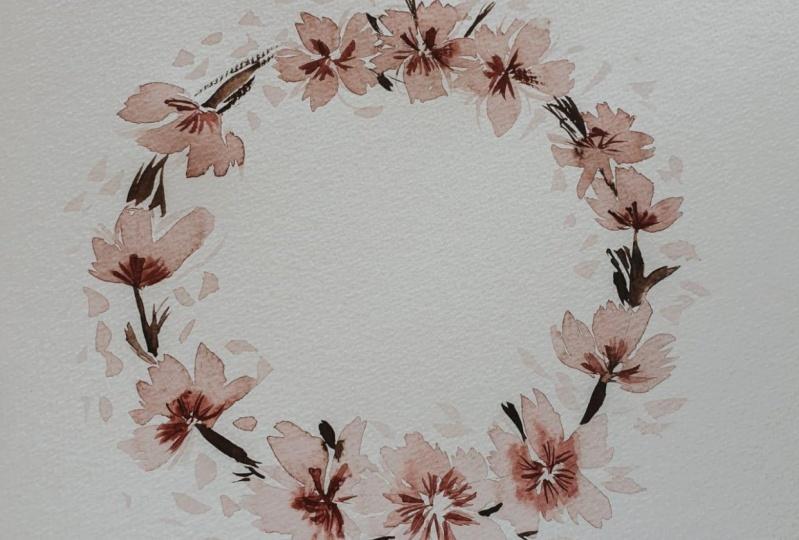 Vintage Cherry Blossom Wreath