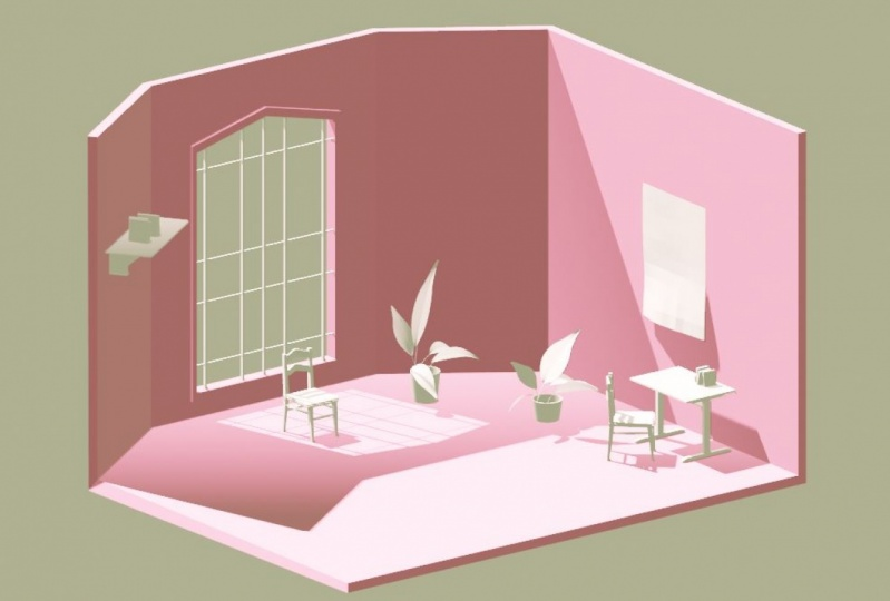 room with plants