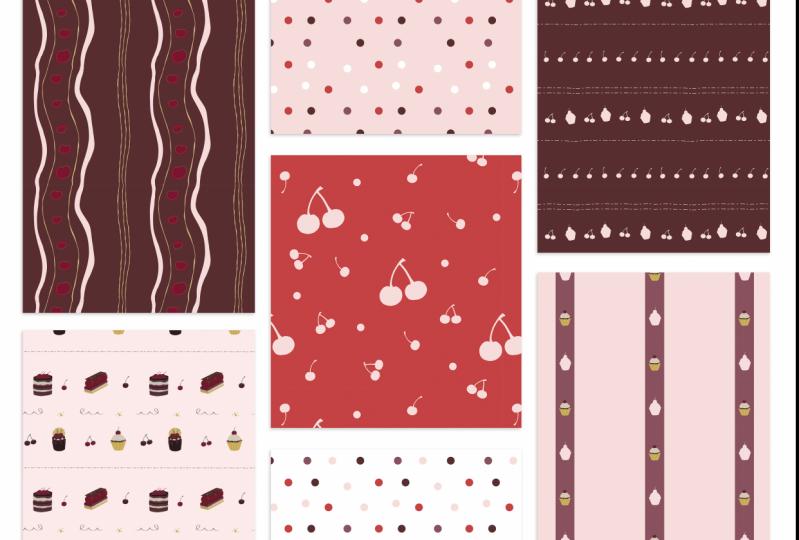 Cherry Choc Chic Pattern Portfolio Page