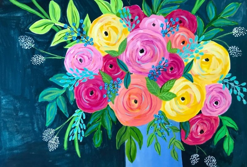 Painting a stunning and dramatic bouquet