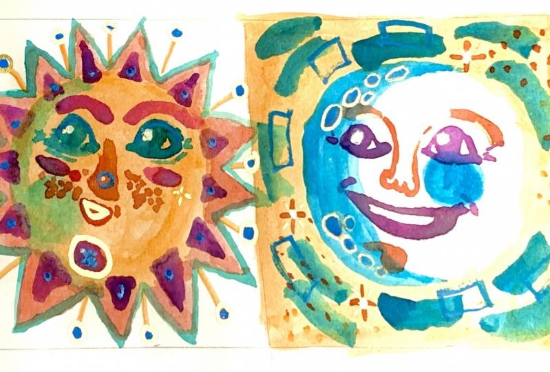 Watercolor sun & moon