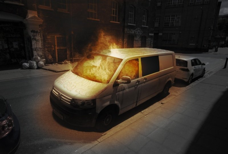Composite Van on Fire