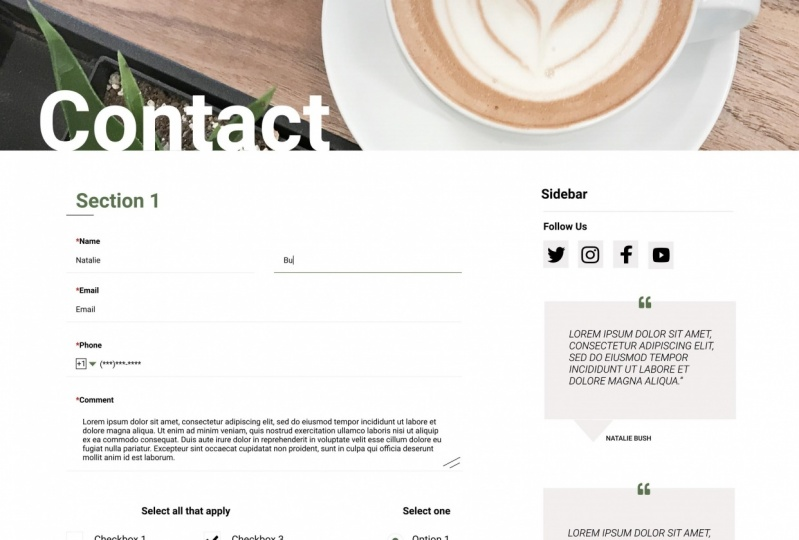 Coffee Shop Contact Page