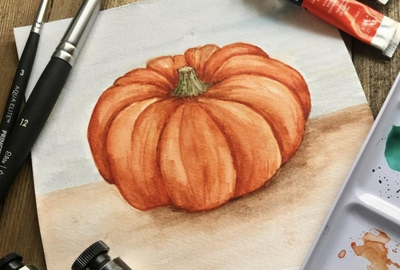 Layering Watercolors - Realistic Pumpkin