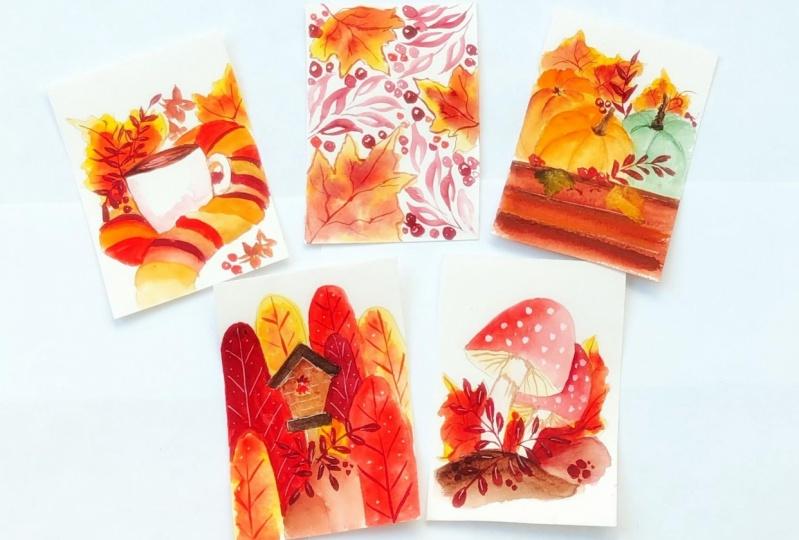 Watercolor autumn postcards