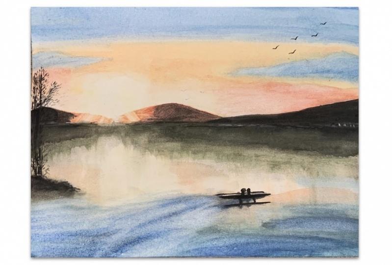 Sunset Seascape Watercolor