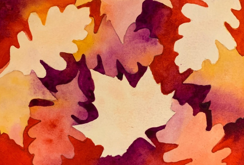 Fall Leaves Negative Painting