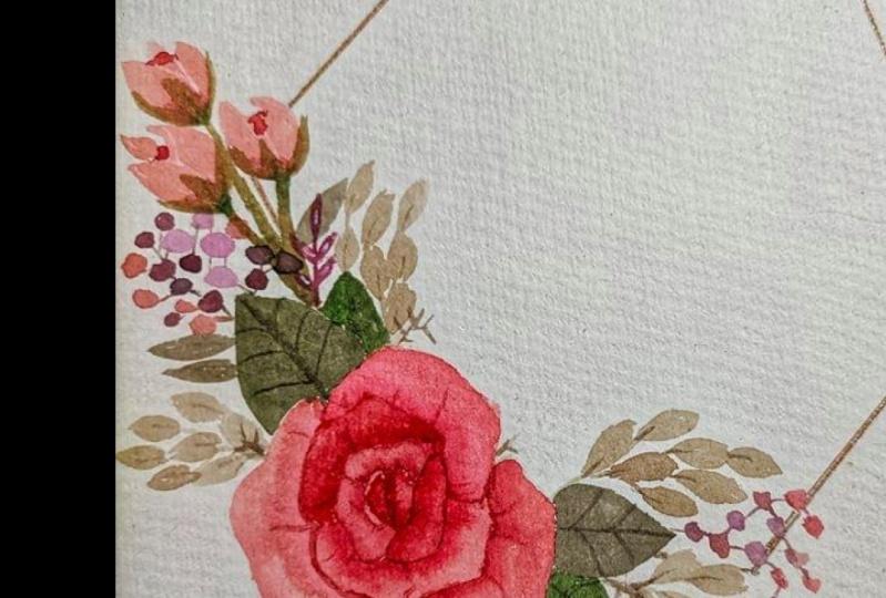 Botanical Rose Floral Wreath