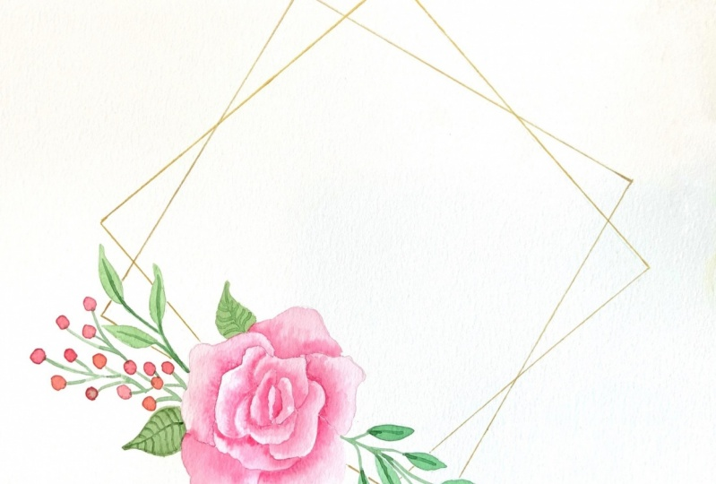 Square with rose