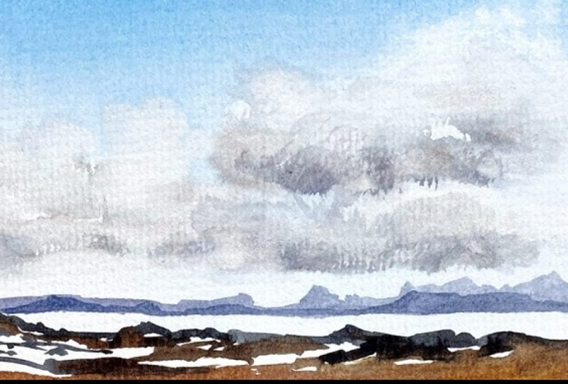 Clouds in Pencil & Watercolor