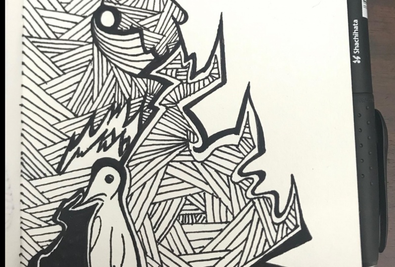 Intricate Drawing in my A6 Visual Diary