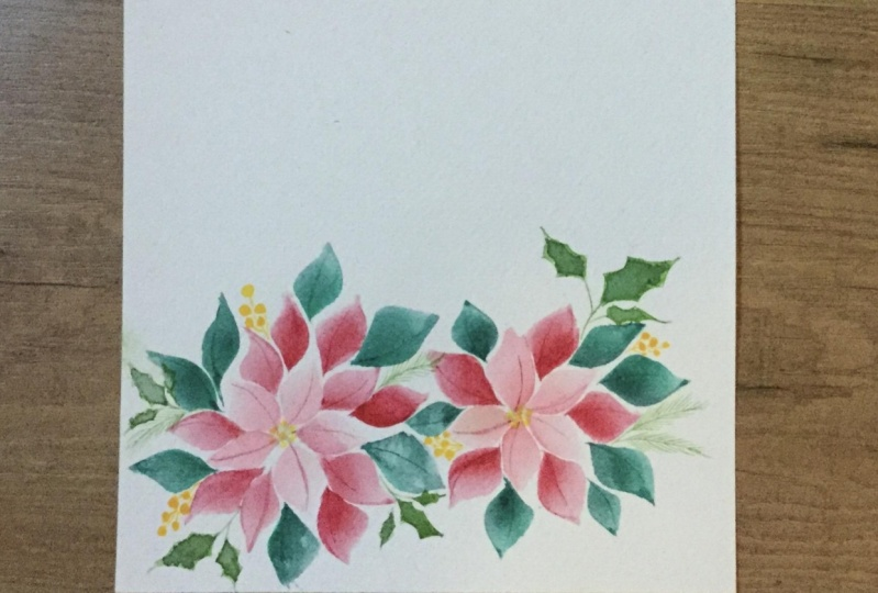 Watercolour florals with triangle brush