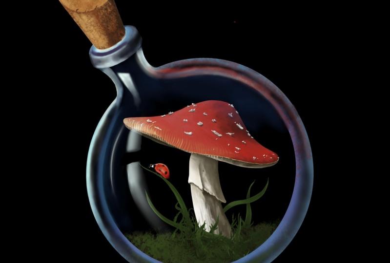 Mushroom in a bottle