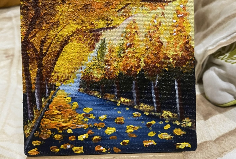 Autumn Leaves Painting on a mini canvas!