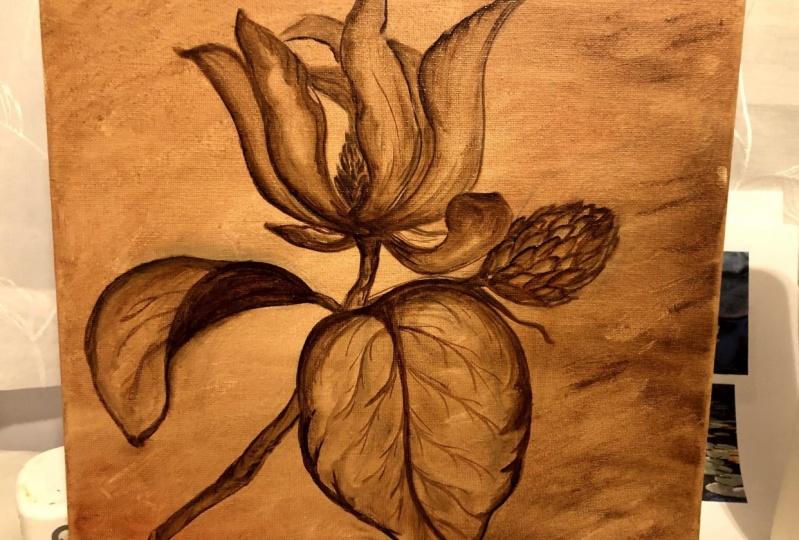 magnolia under painting