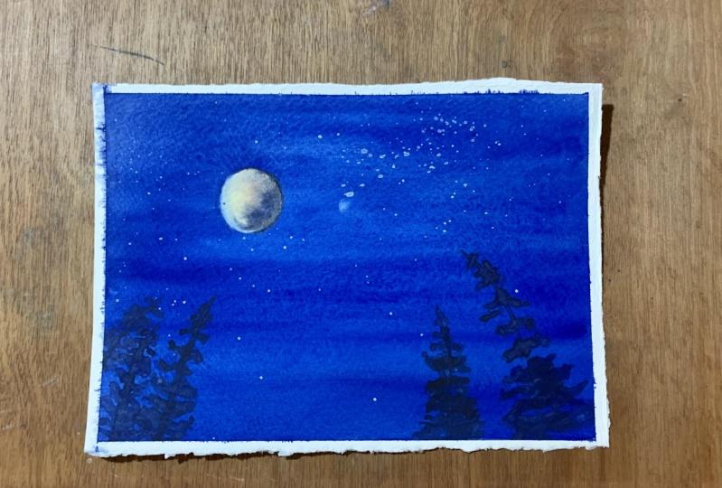 Lunar eclipse night sky