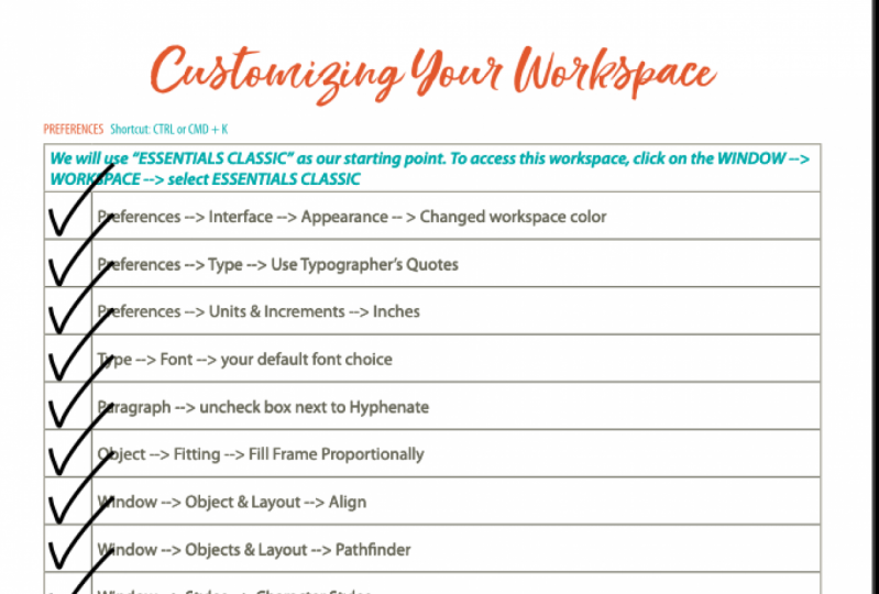 Custom workspace worksheet