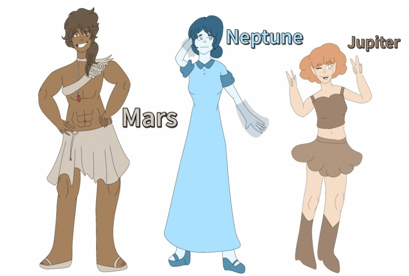 Space girls and boy♡