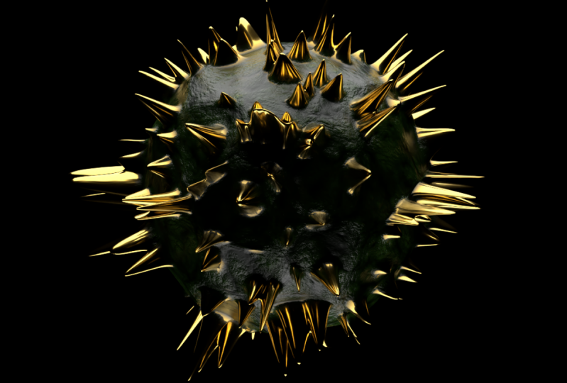 Gold spikes on organic surface