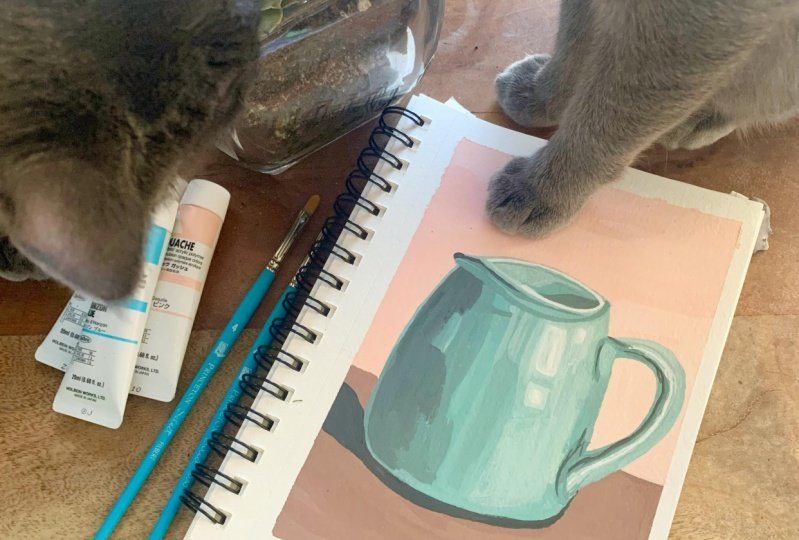 Jugs! (featuring kitties and swatches)