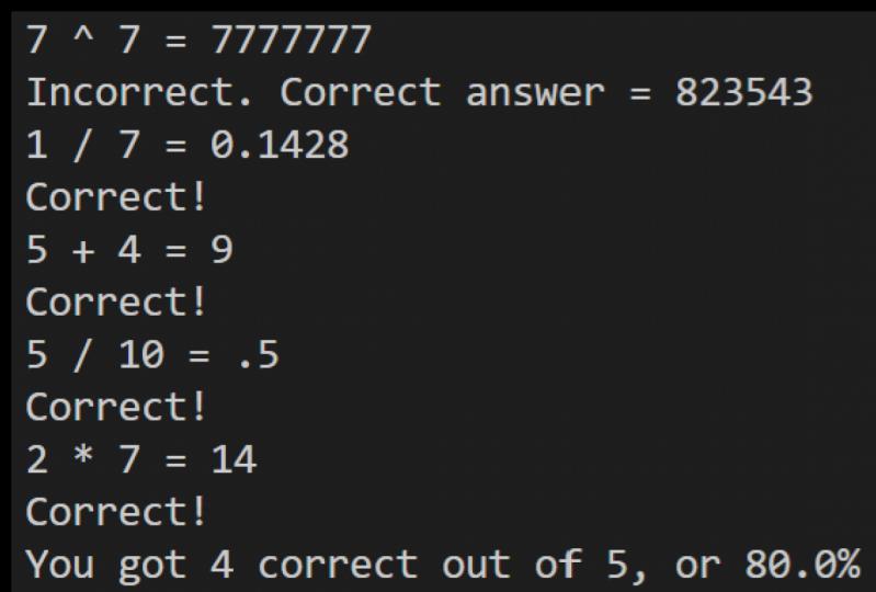 John's Math Quiz
