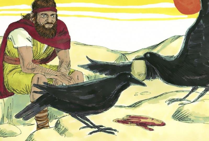 Elia am Bach Krit von Raben ernährt