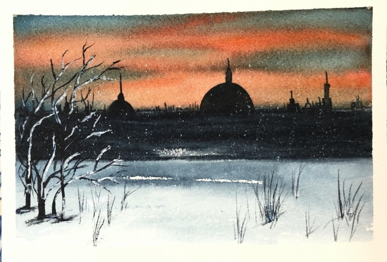 Winter watercolor landscape by sukratha