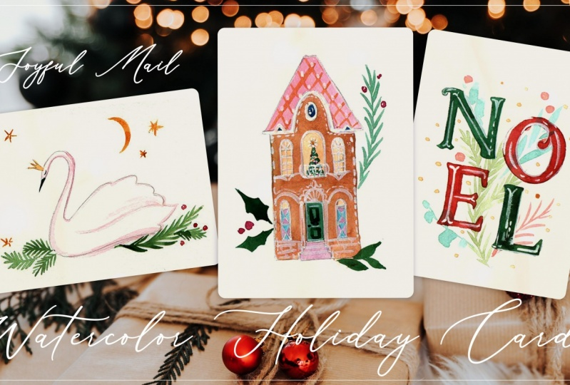 Watercolor Holiday Cards - Sample Project
