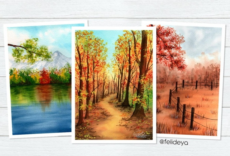 Autumn landscapes with watercolor