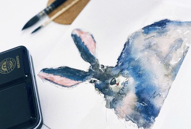 Loose watercolor rabbit