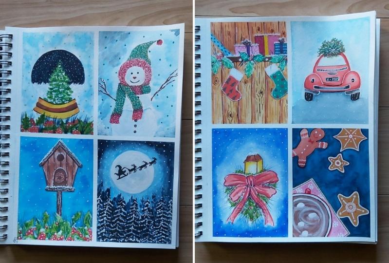 Watercolor Xmas Cards