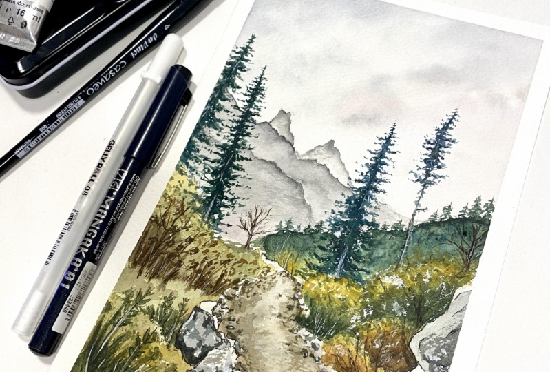 Watercolor + ink landscape