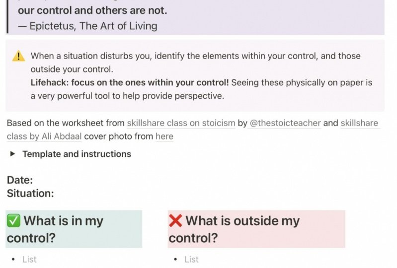 Dichotomy of Control Log - notion template
