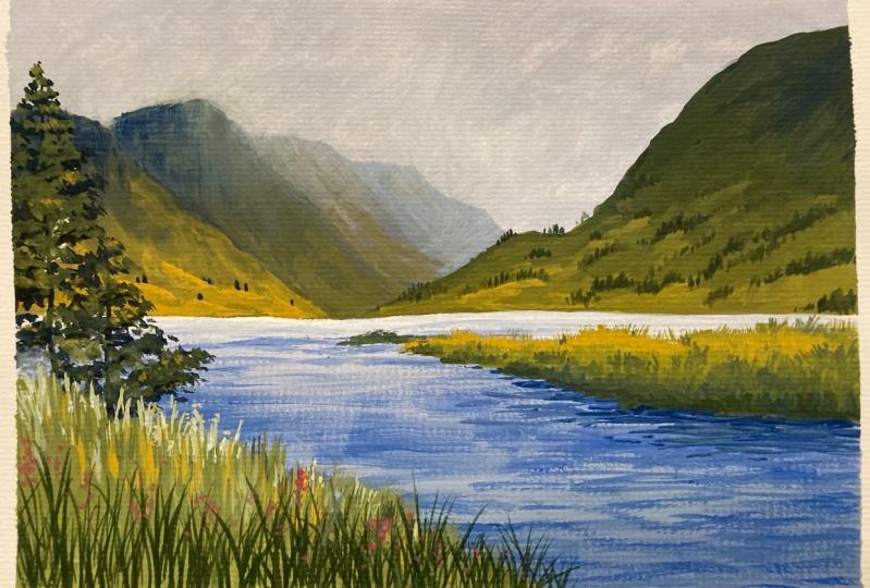 Scotland Landscape in Gouache