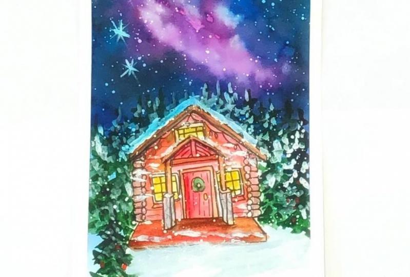 Galaxy Christmas cabin watercolor
