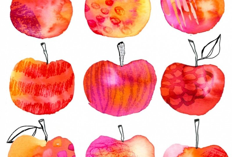 Apples in watercolours and tea with peaches in watercolours