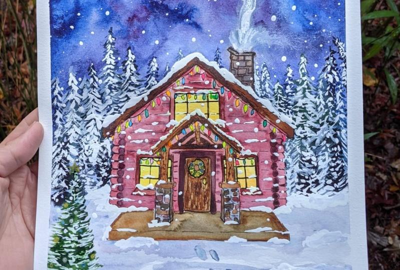 Snowy Log Cabin