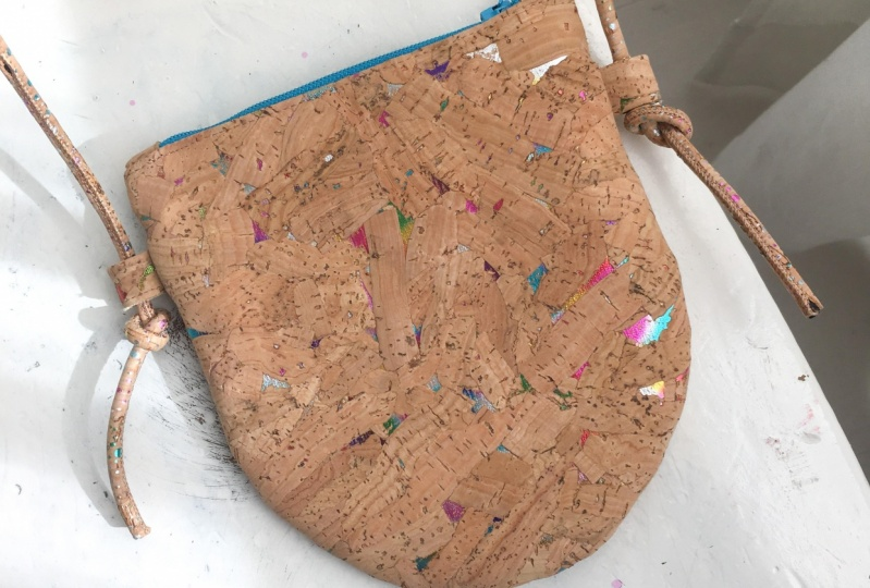 Crossbody bag using cork fabric