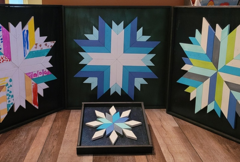 Barn quilt snowflakes