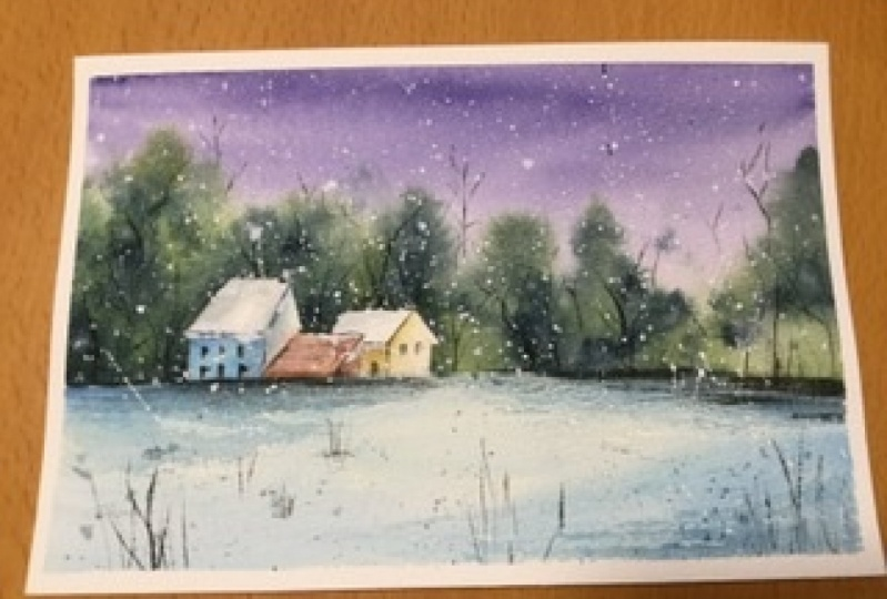 Winter scene with house