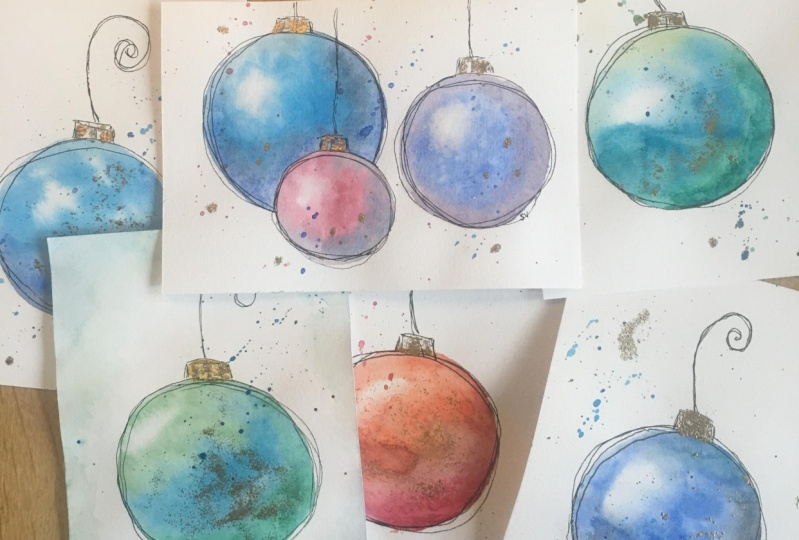 Loose watercolor baubles